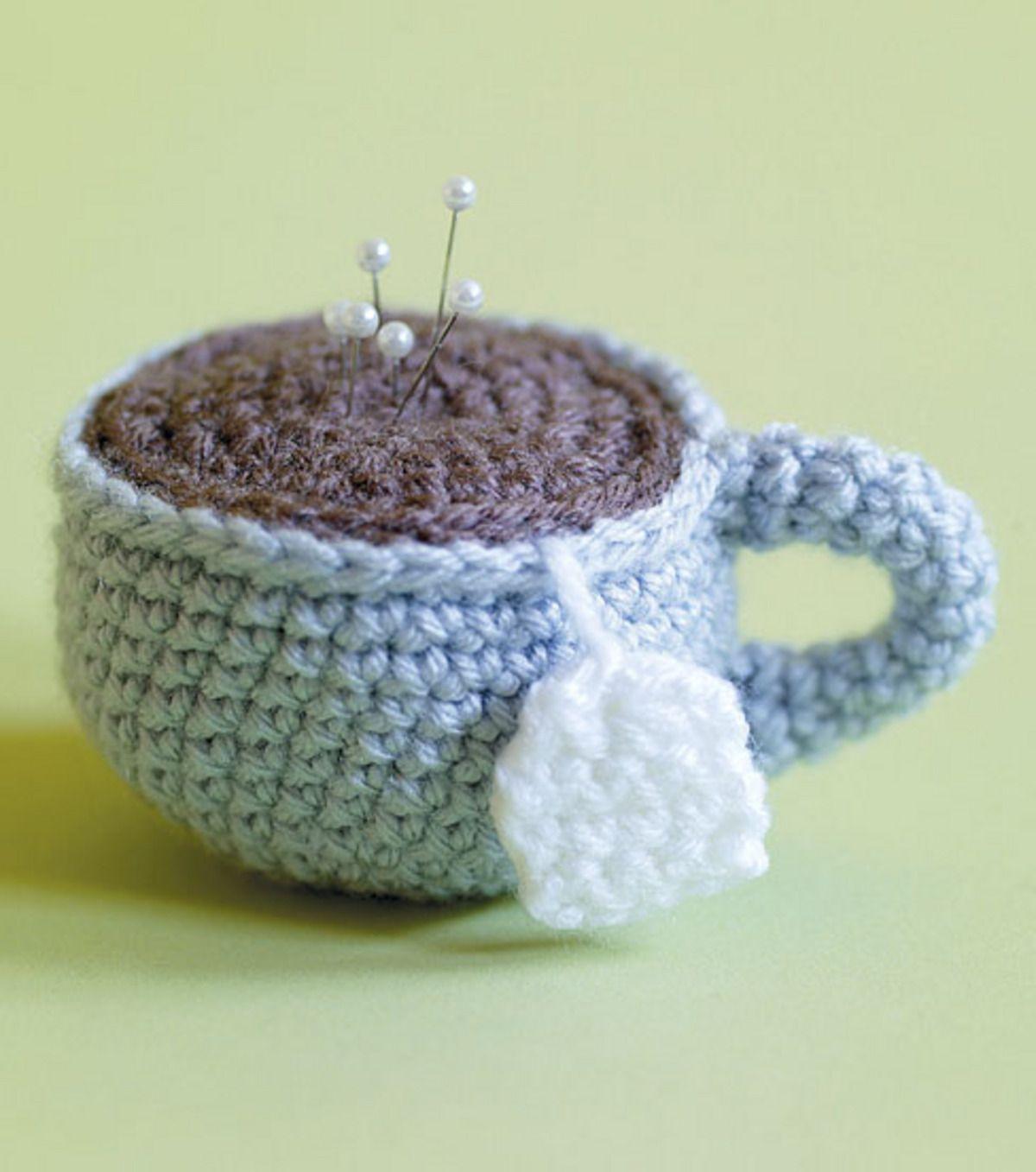 Craftdrawer Crafts: Crochet Tea Cup Pin Cushion Pattern - Freet Pin Cushionteapocup Crochet Pattern