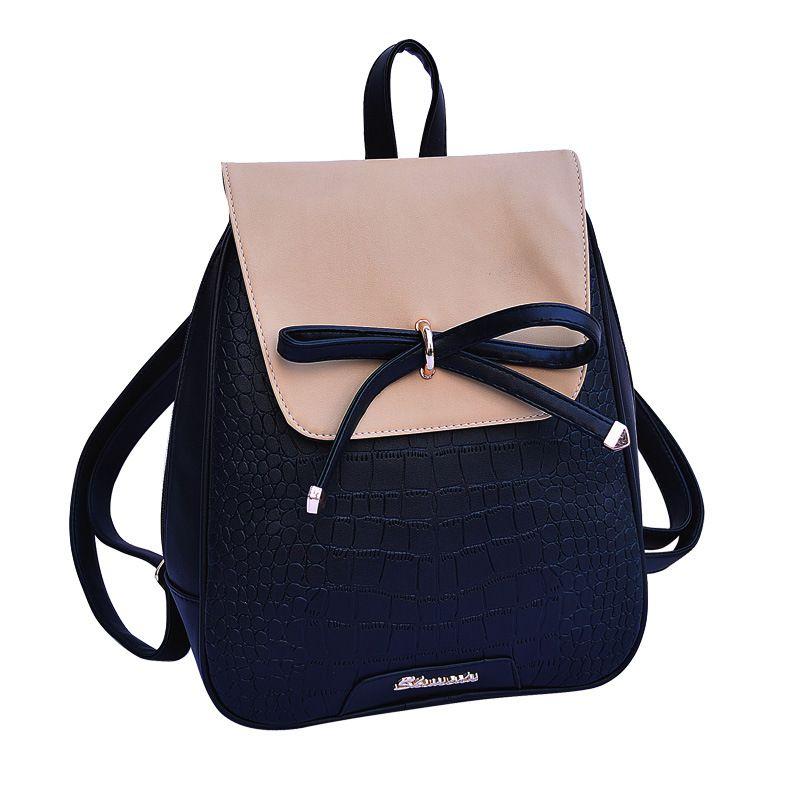 defb86ad7f39 Women Backpacks 2017 New Designer Leather Backpack Bow Shoulder Bag Girls  Student School Bags Female Travel Bolos Mochilas