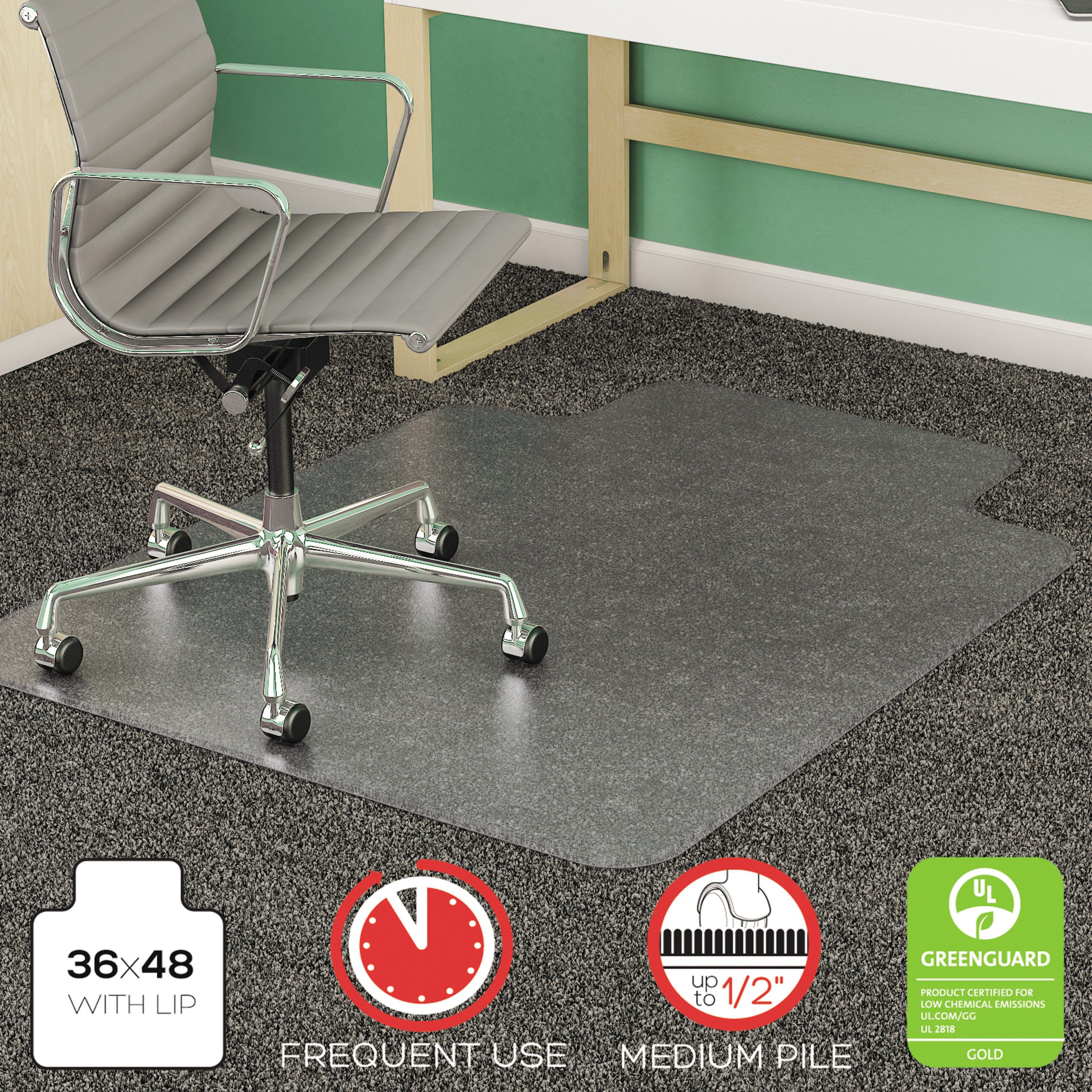 Deflect O 36 X 48 Supermat Chair Mat For Medium Pile Carpet Defcm14113 Chair Mats Clear Chairs Office Chair Mat