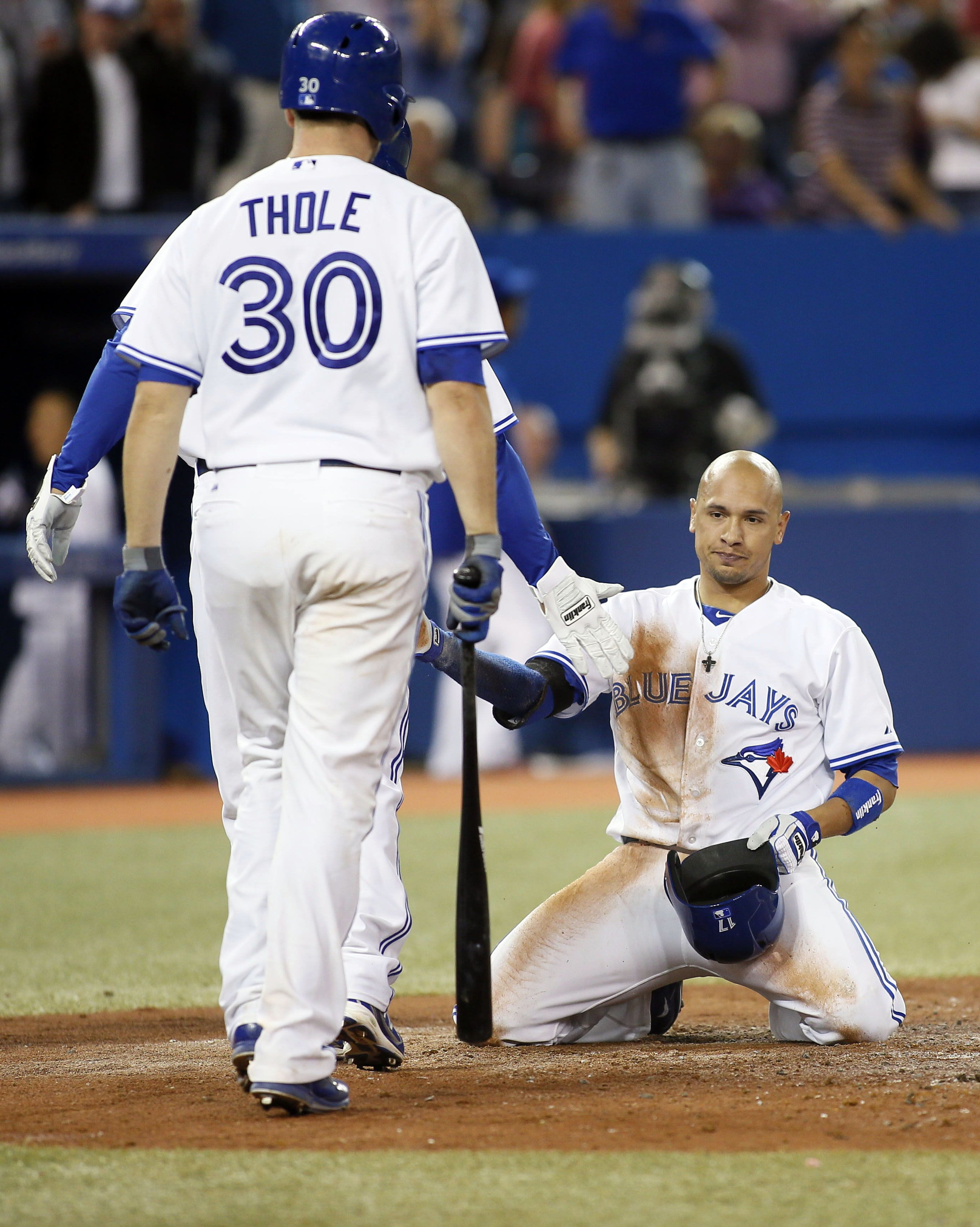 Crowdcam Hot Shot Toronto Blue Jays Second Baseman Ryan Goins Reacts After Being Tagged Out At Home Plate By Tampa Toronto Blue Jays Blue Jays Tampa Bay Rays