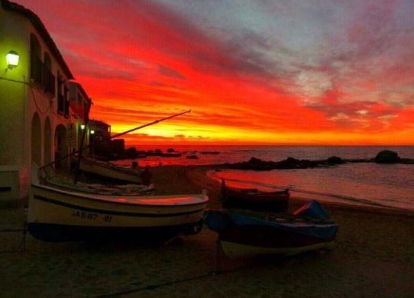 Fantàstica posta de sol a Calella de Palafrugell. Desembre 2013