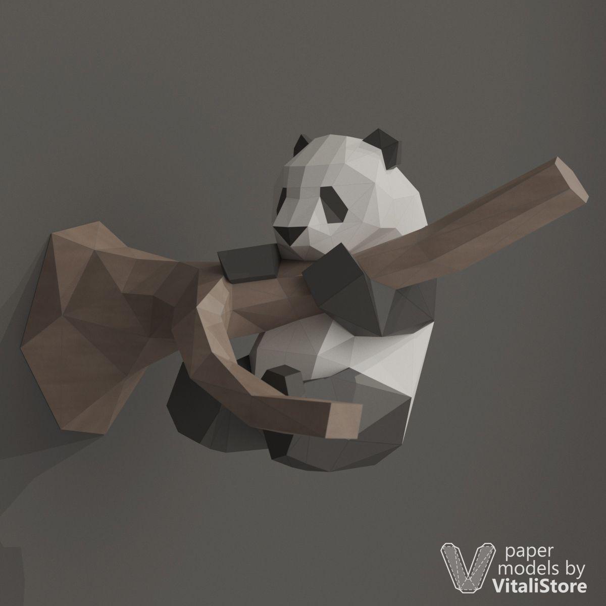 Funny Panda Papercraft, DIY Paper Sculpture, Wall Decor ... - photo#8