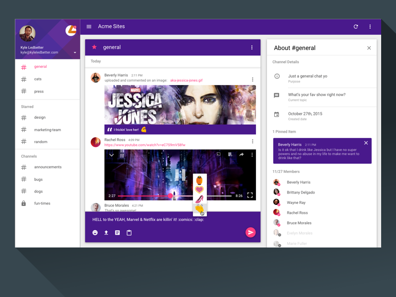 Slack Material Design Desktop App Material Design Web App