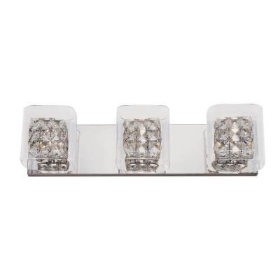 Home Decorators Collection Crystal Cube 3-Light Polished Chrome