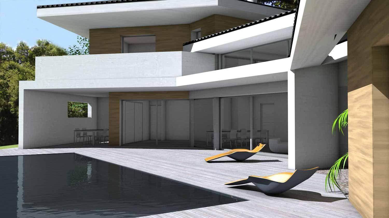 Maison contemporaine d 39 architecte toiture tuiles noires et casquettes b ton toulouse brico for Maison architecte design