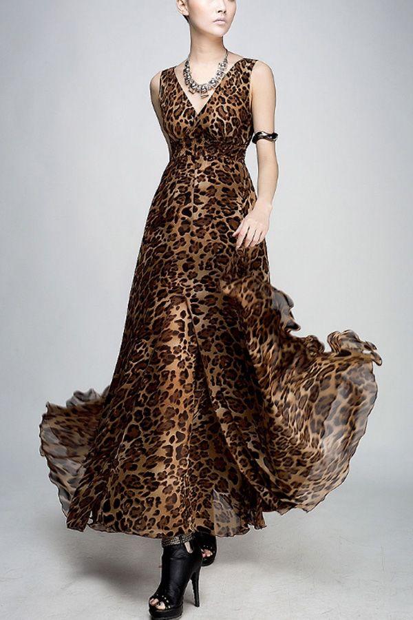 Sexy V-neck Leopard Print Chiffon Dress | Leopard Print | Pinterest