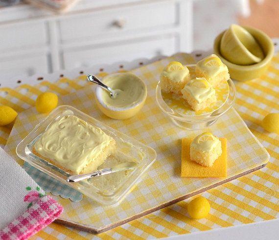 Miniature Frosting Lemon Sheet Cake Set by CuteinMiniature on Etsy
