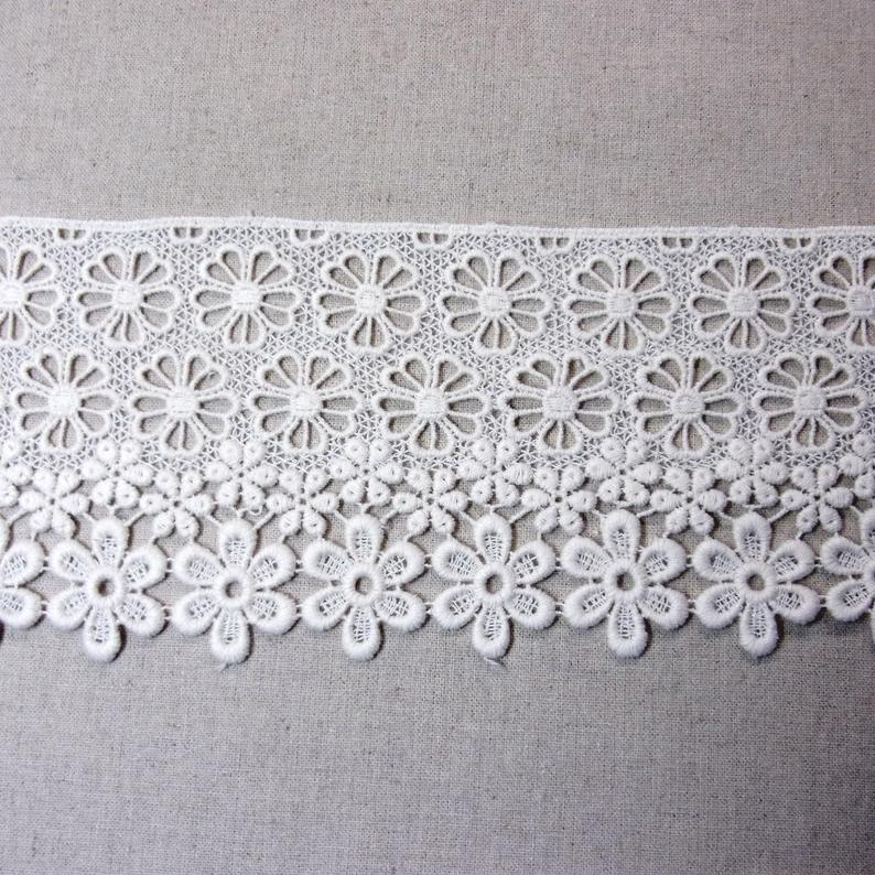 Cotton Lace Fabric Embroidered Flowers Cotton Lacework Ivory 9.5cm(3.7) Wide 1Yd #439