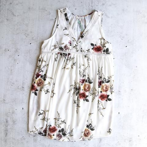 off white floral sleeveless dress