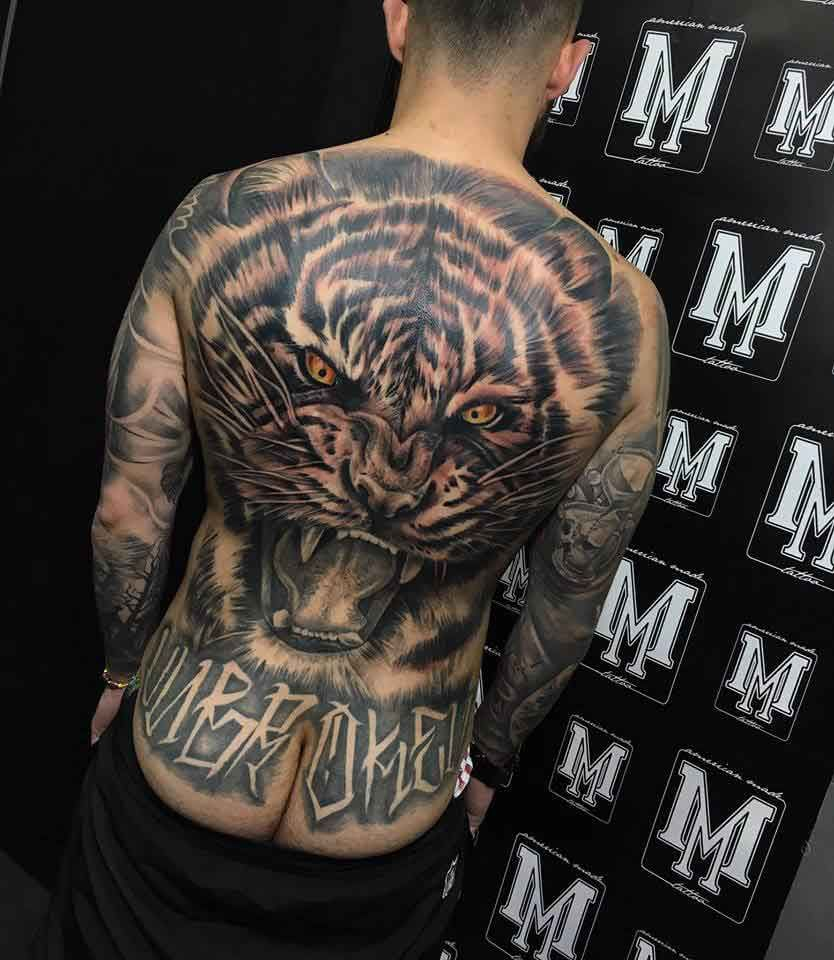 Back tattoo of a tiger large scale pembroke pines miami