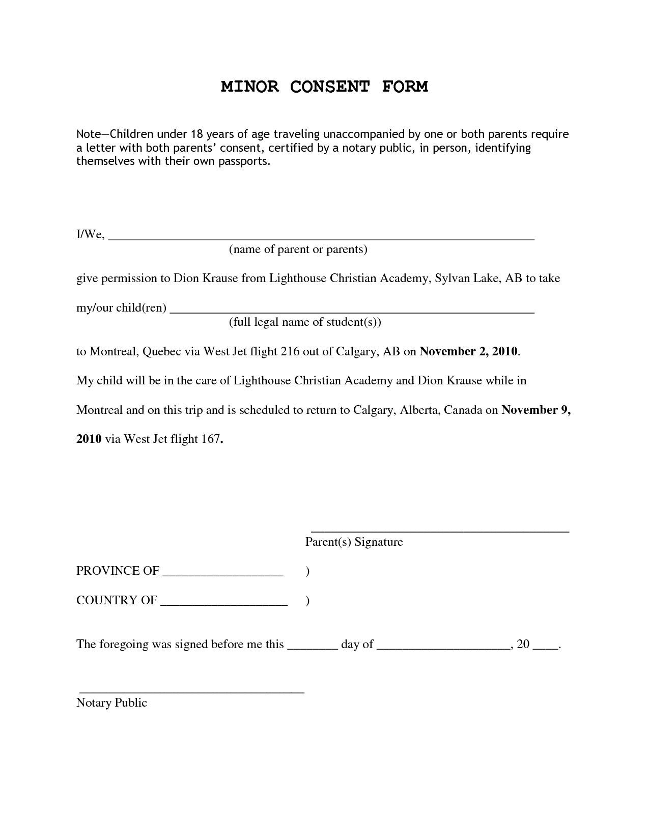 Consent Permission Inside Letter For Children Travelling