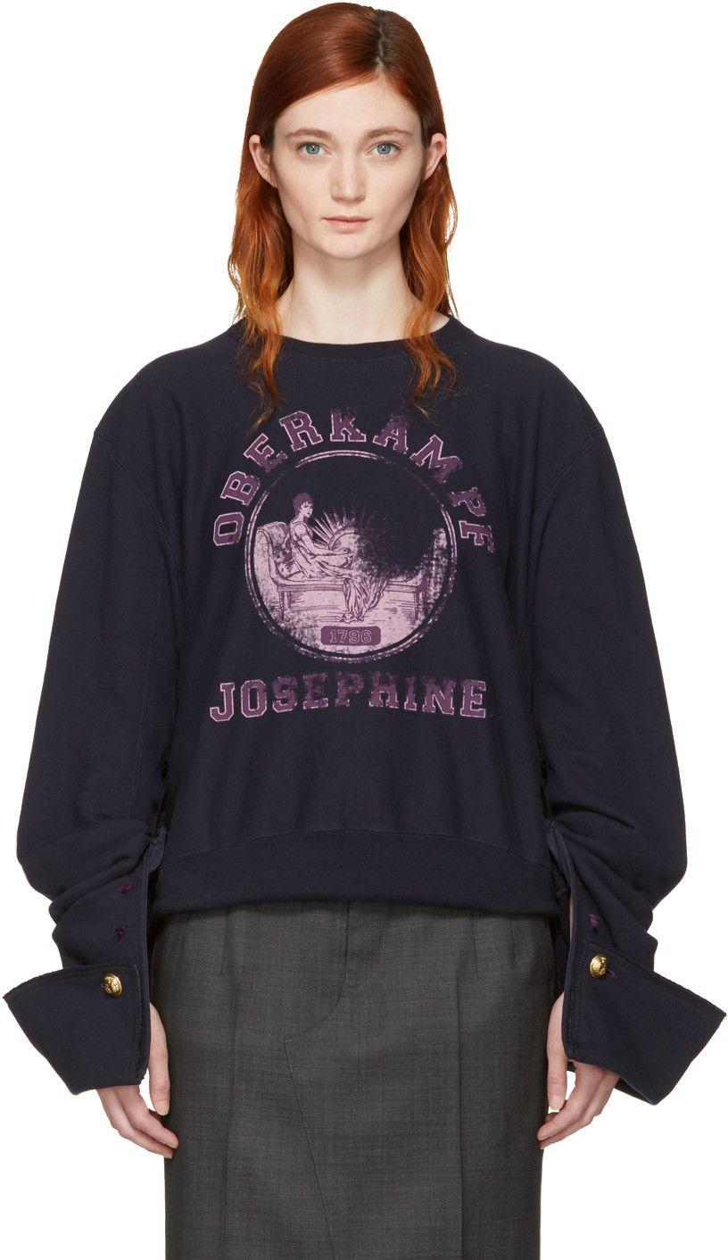 MAISON MARTIN MARGIELA Navy 'Josephine Oberkampf' Sweatshirt. #maisonmartinmargiela #cloth #sweatshirt