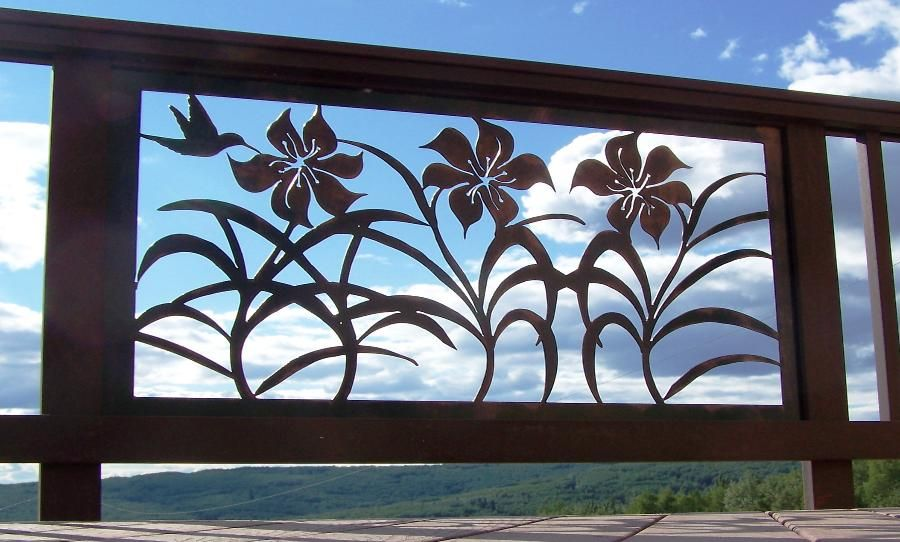 Wrought Iron Railing with Iron Lillie's with #hummingbird