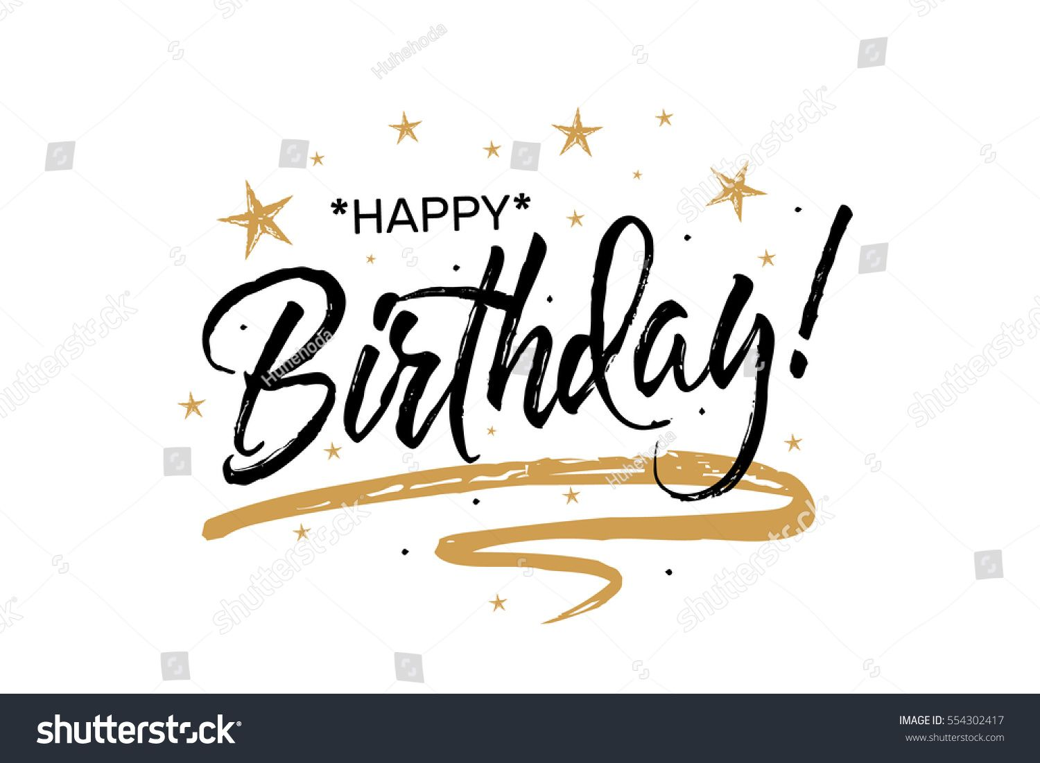 Happy Birthday Beautiful Greeting Card Scratched Calligraphy Black