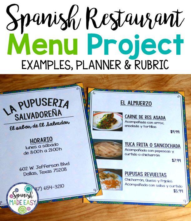 Spanish Restaurant Menu Project Pinterest Spanish restaurant