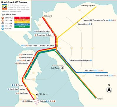 Map Of Hotels Near Bart Stations Travel In 2019 Find