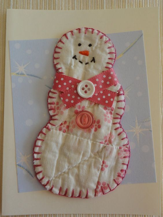 Old quilt Snowman note Christmas greeting card  thank-you birthday