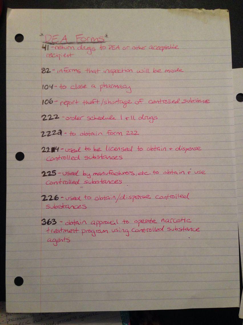 DEA Forms | PTCB Notes | Pinterest | Pharmacy