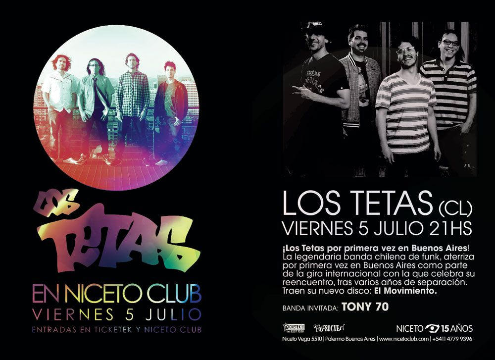 Los Tetas | 5 de julio 2013 | Niceto Club - Buenos Aires |  Booking/Producción Pop Société