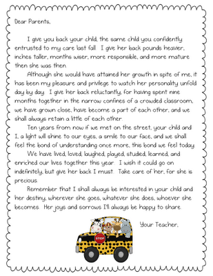 Letter For Parents At End Of Year  End Of The Year