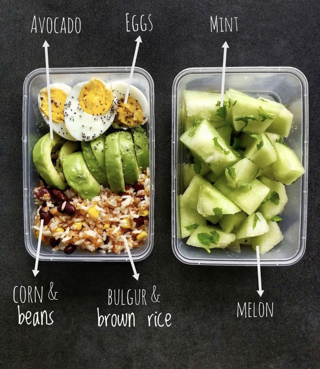 Bulgur Brown Rice Beans Avocado Egg Melon And Mint Healthy Meal Prep Food Healthy Recipes