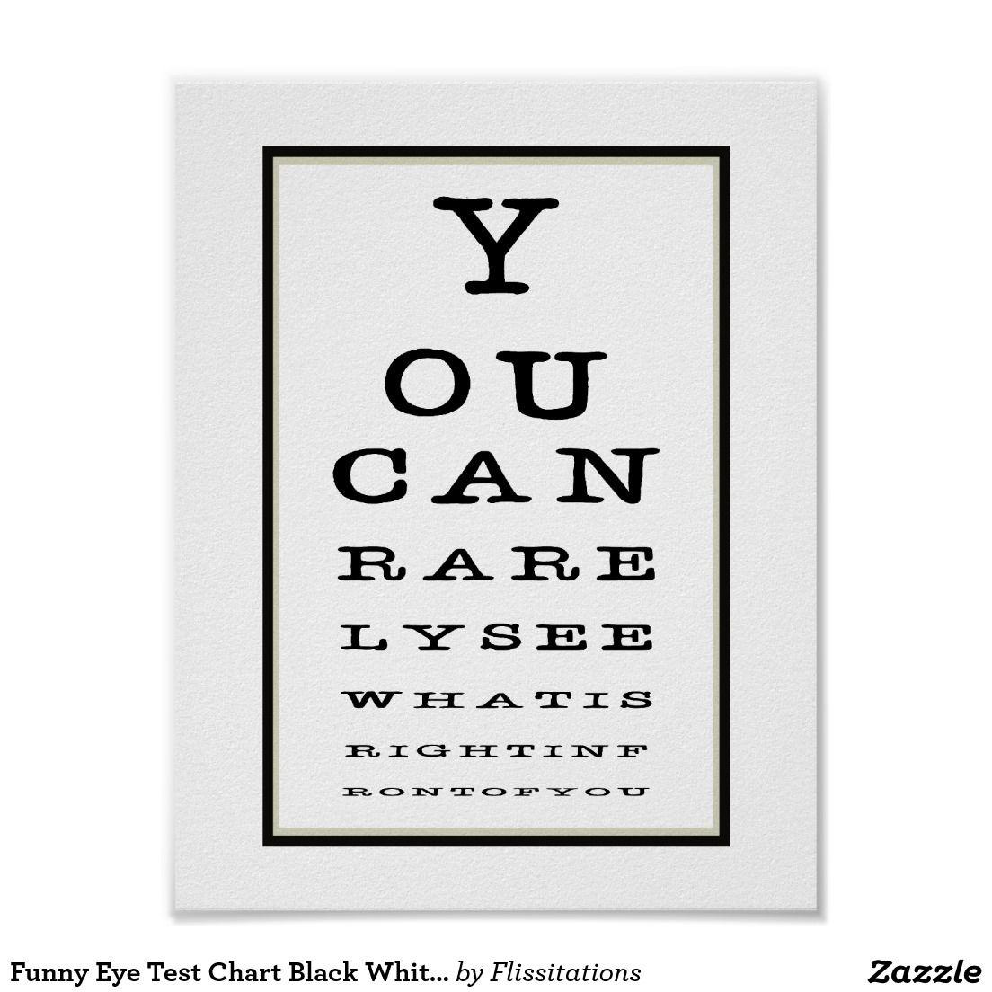 Funny Novelty Eye Test Chart Typography Zazzle Com Eye Test Chart Poster Prints Eye Test