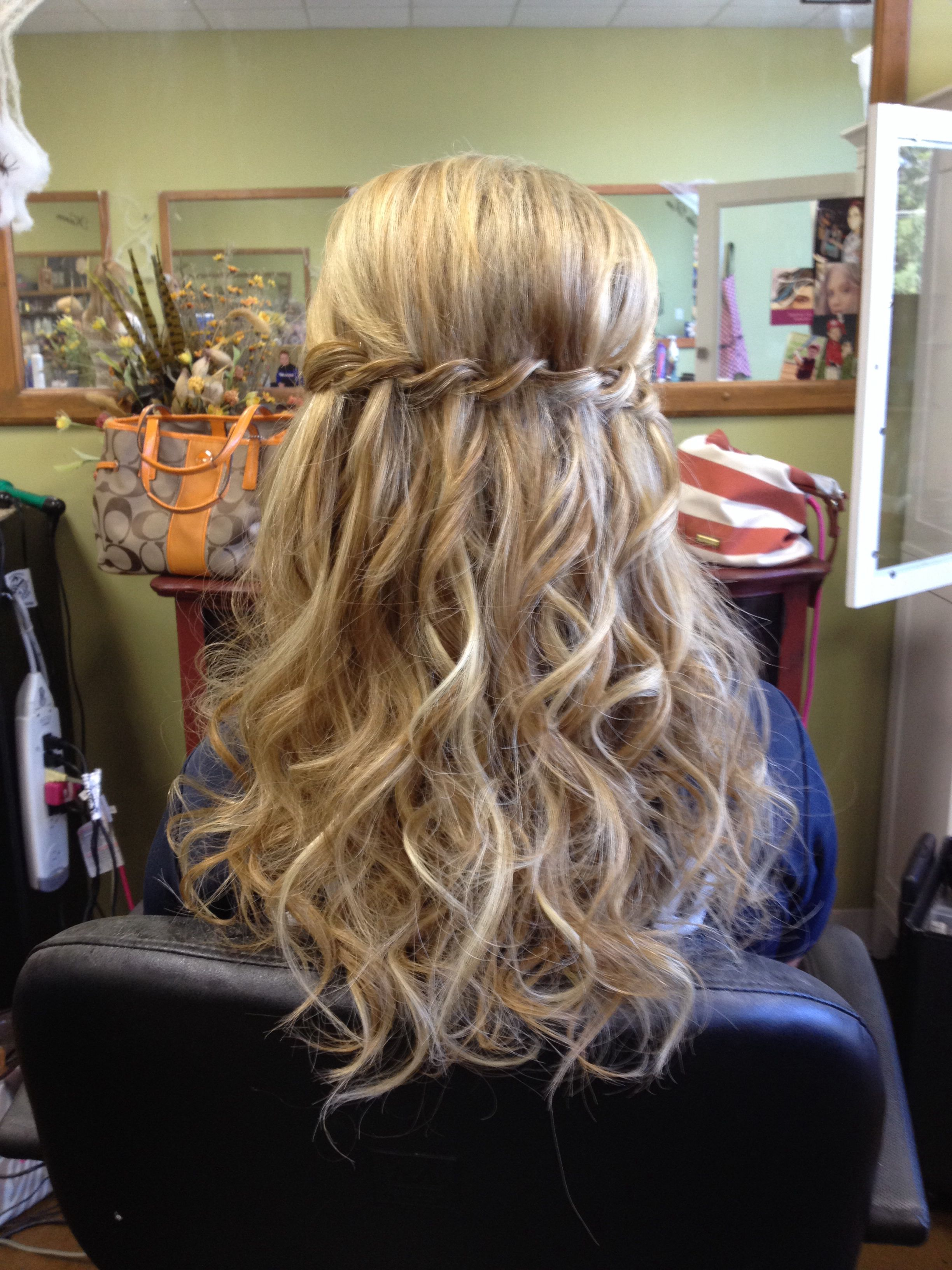 waterfall braid with extensions, curls, half up, bridal