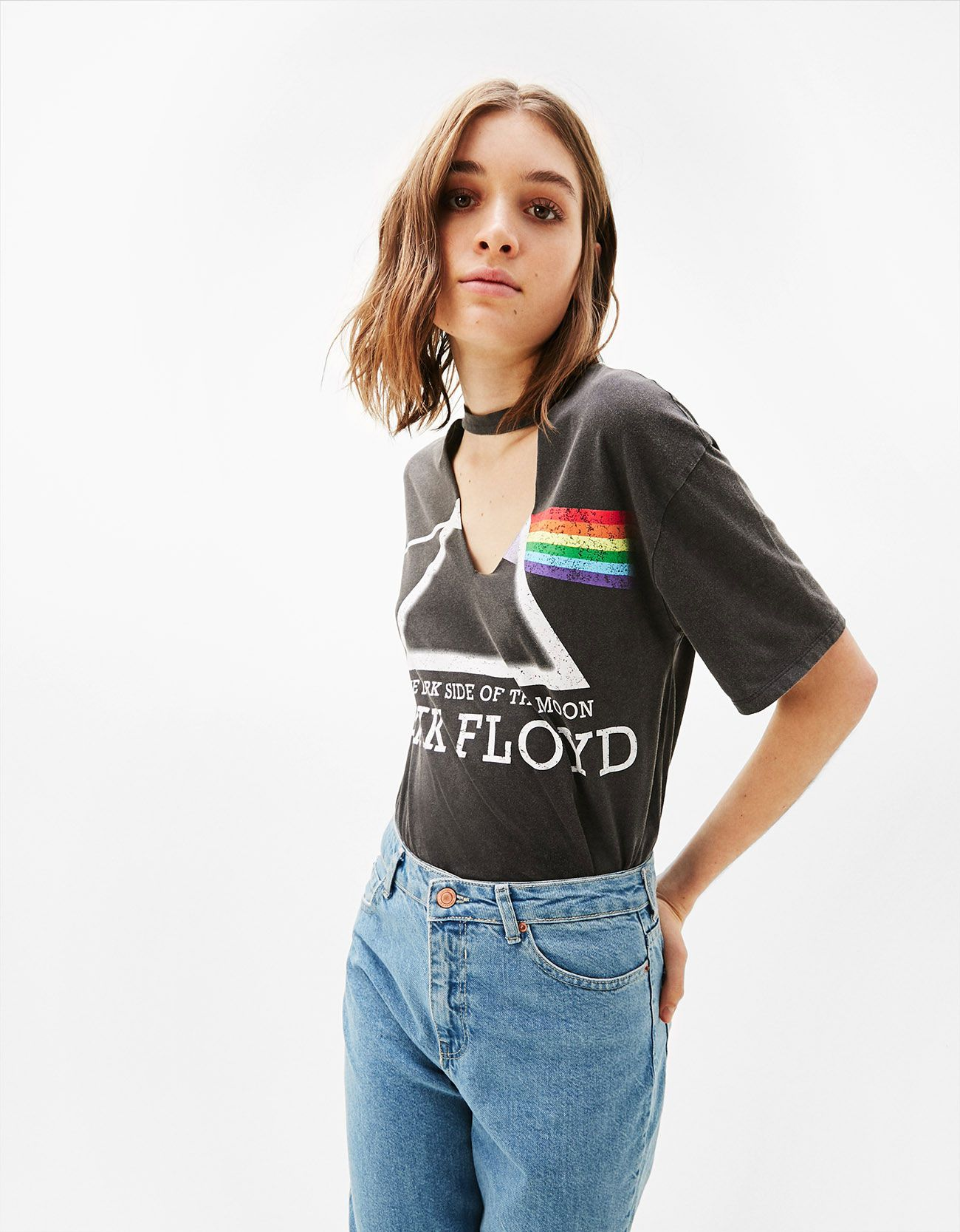 2844e55a0bb6cc Pink Floyd choker T-shirt. Discover this and many more items in Bershka  with new products every week