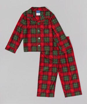 Candlesticks Red Plaid Pajama Set - Boys | Boys, Red plaid and ...
