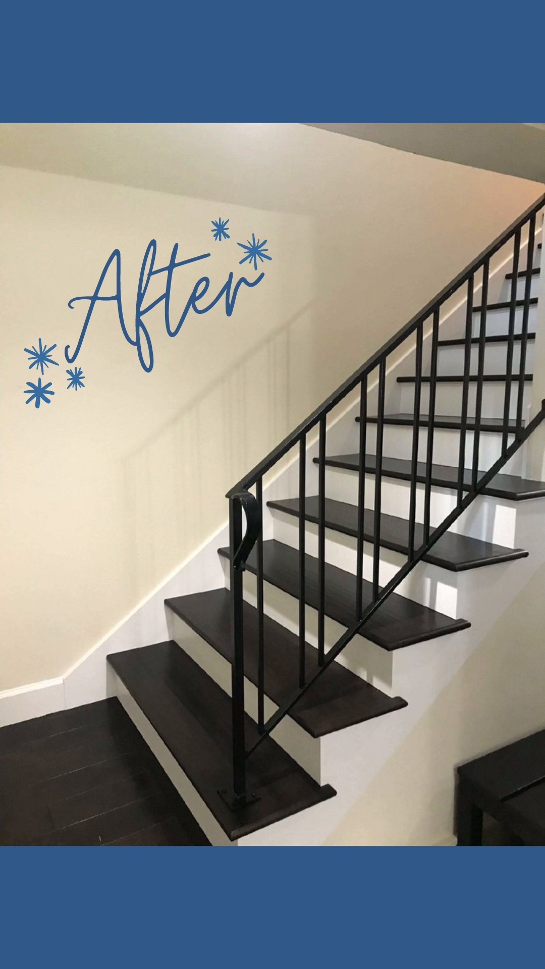 Sleek staircase transformation. #retroaesthetic #retrohomedecor #myvintagehomestyle #bathroomtiles #bathroomremodel⁣ #bathroomrenovation #bathroomdesign #generalcontratorseattle #eclecticdecor #eclectichome #renovationlife #homerenovation #homeimprovements #kitchendecor #residentialconstruction #stairs #seattlerealestate #tacomarealestate #seatacrealestate #seattleremodelers #issaquahcontractor #seattlehomebuilders #issaquah #sammamishrealestate #staircase