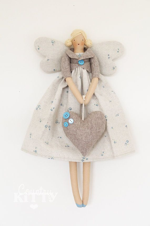 Fairy angel doll in grey and blue shades with little roses fabric ...