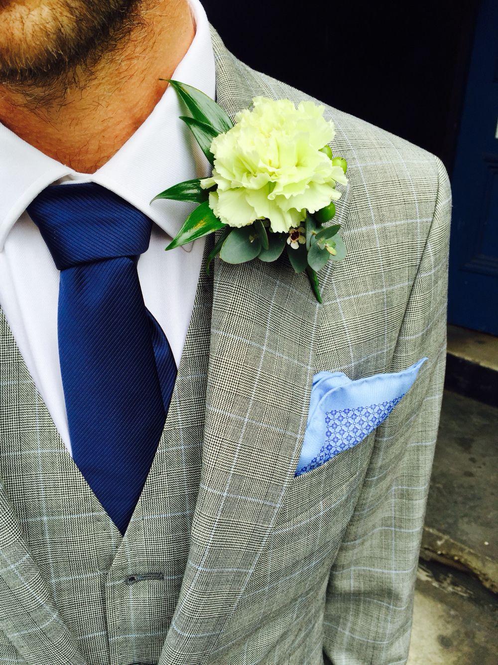 Three piece grey check wedding suit By Alexandra Wood Ltd www ...