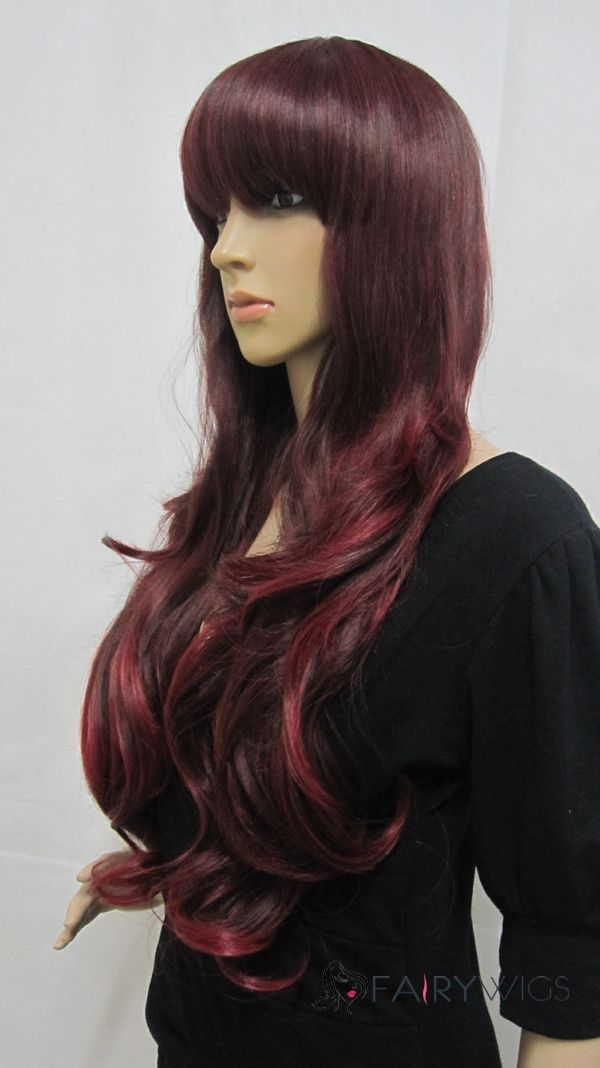 Elegant Capless Long Synthetic Hair Red Wavy Cheap Costume Wigs