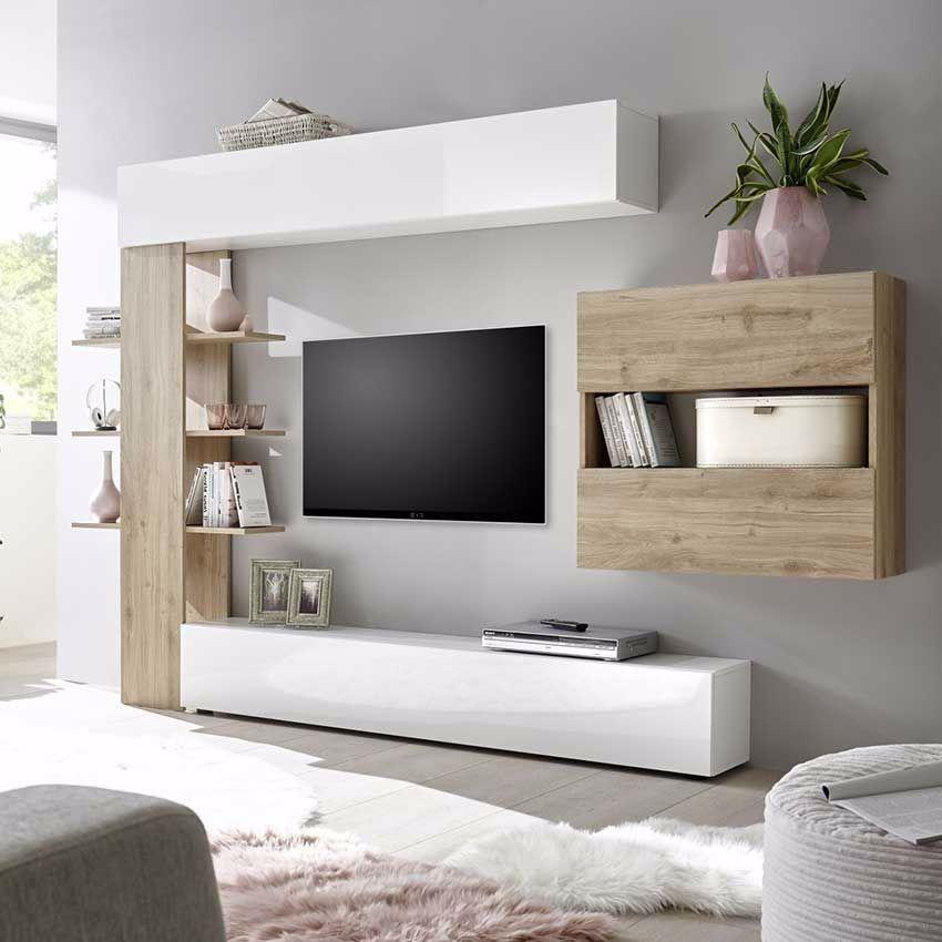 Mur Tv Blanc Et Bois Meuble Tv Suspendu Blanc Et Bois Design Muraem En 2020 Meubles De Salon Blanc Ensemble Meuble Tv Meuble Tv Suspendu