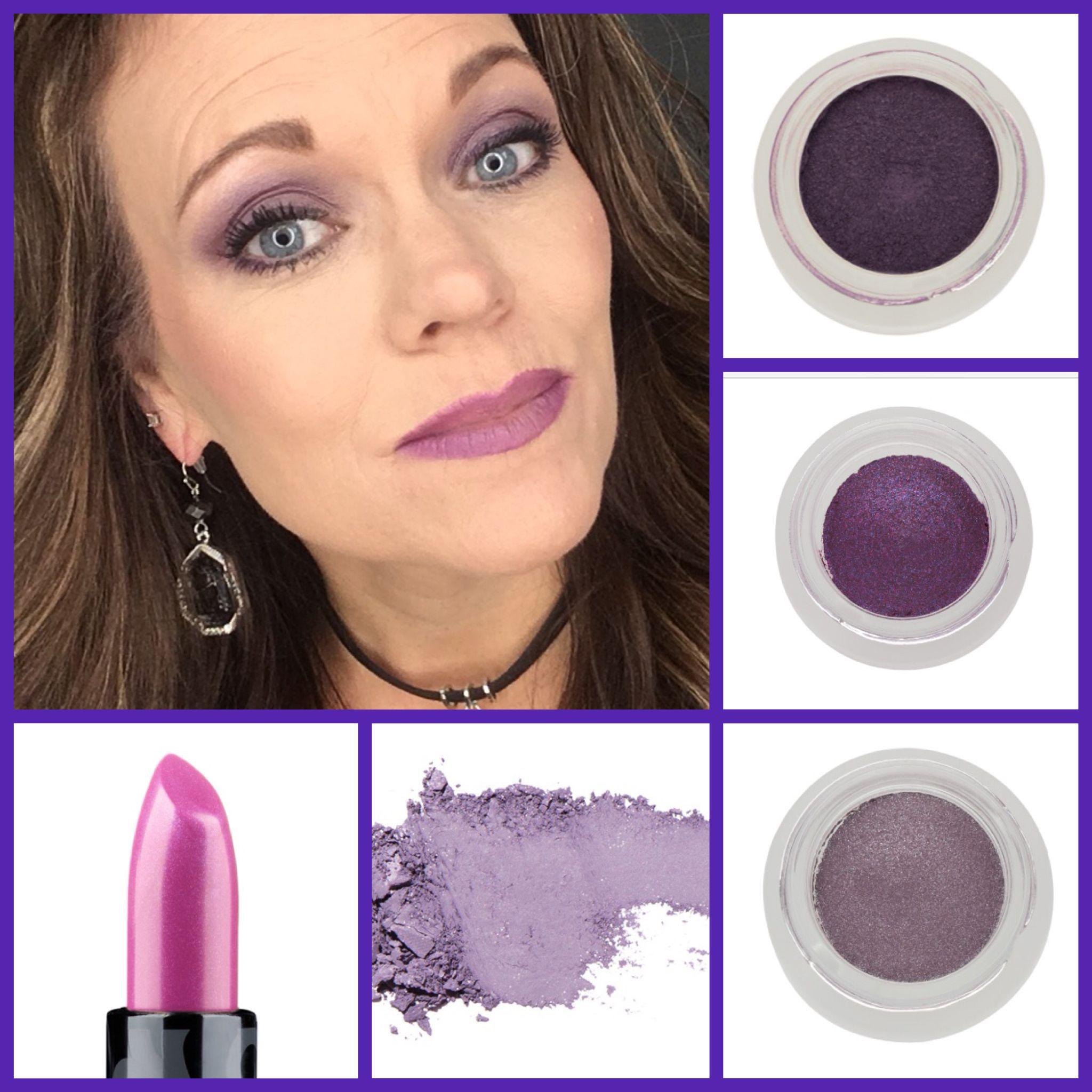 Purple Cascade Eye Look And Purple Lips Splurge Cream Shadow