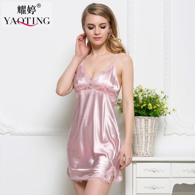 Damen-nachtwäsche SchöN Kommen Frauen Sexy Nachthemd Lange Nachtwäsche Faux Silk Bath Robe Kleid Chemise
