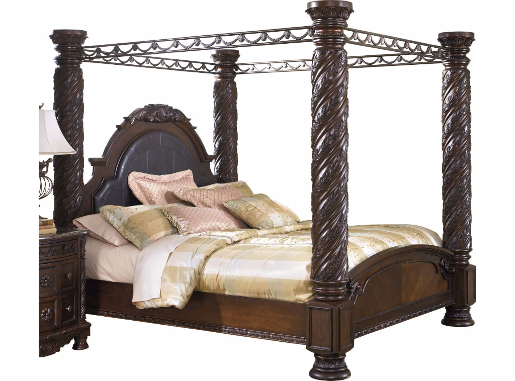 North Shore King Canopy Bed in Dark Wood CLEARANCE SPECIAL