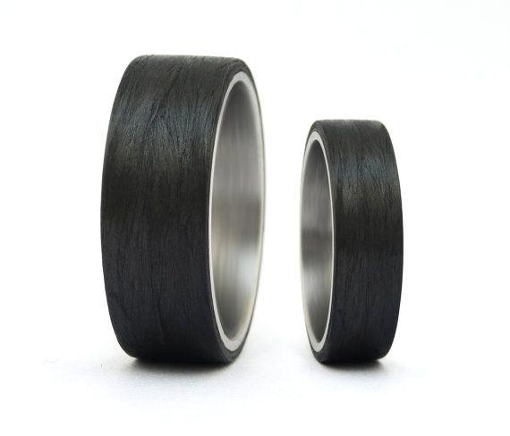 Carbon Fiber Titanium Wedding Rings My Wedding Pinterest