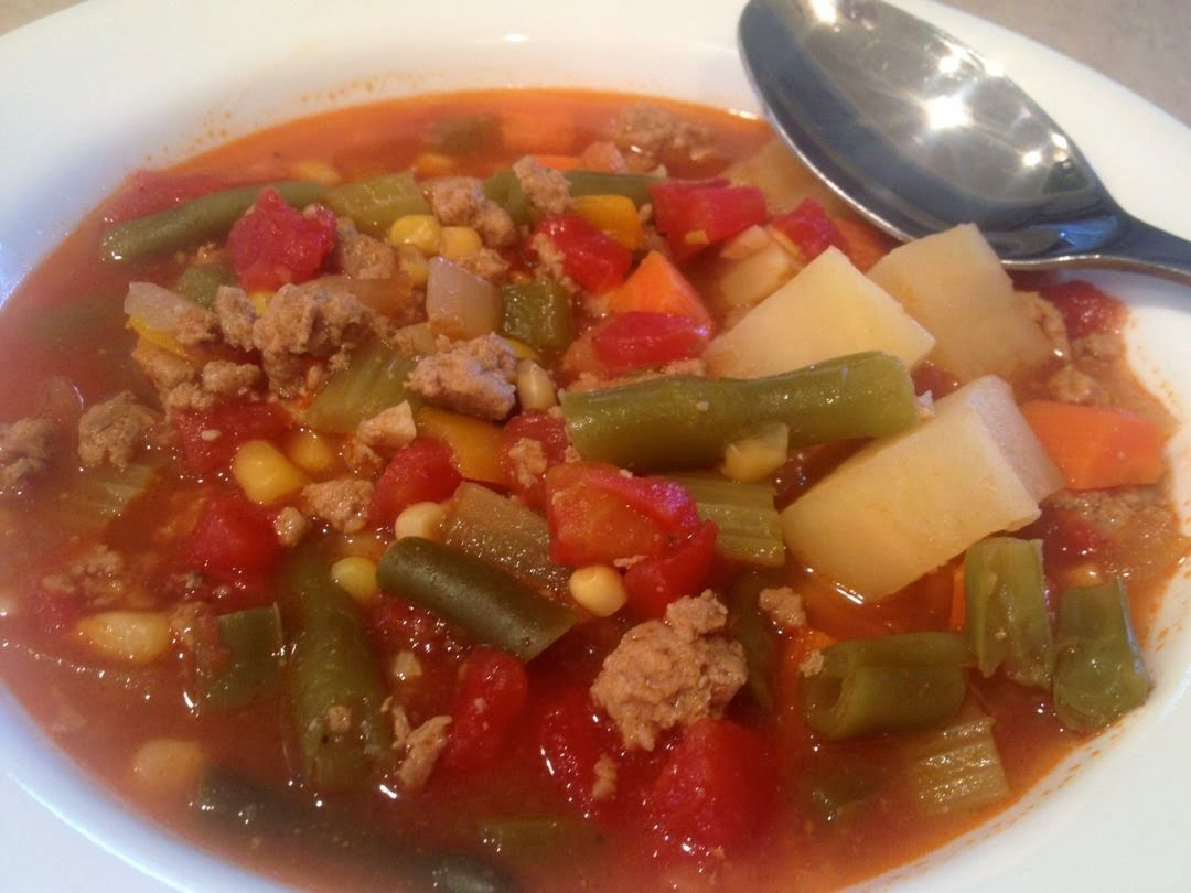 Hobo Stew With Ground Turkey Potatoes Carrot Celery Peppers Corn And Green Beans Thegreenhs Stuffed Peppers Ground Beef Stews Hobo Stew