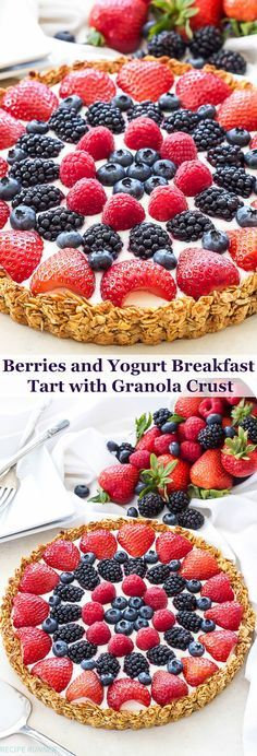 Berries and Yogurt Breakfast Tart with Granola Crust   This Berries and Yogurt Breakfast Tart will have everyone running to the breakfast table! Not only is it a show-stopper, but it's made with all healthy ingredients, gluten-free and tastes amazing!