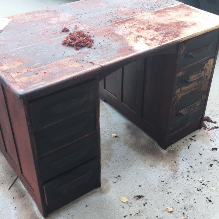 Oh it's so awful the treatment antiques get. This executive desk is a sweet little find, however the varnish on it is so thick it's taking me hours to remove it. Renovation in progress! #furniturerestoration #furniturerehab #thethingsyoufind #furnituremakeover #deskforsuccess #antiques #deskfromhell