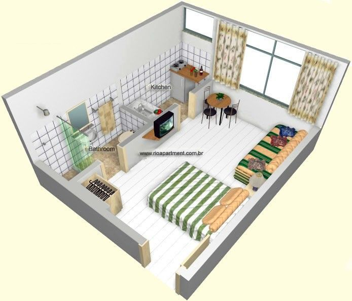 Studio apartment floorplans find house plans casa for Efficiency apartment floor plans