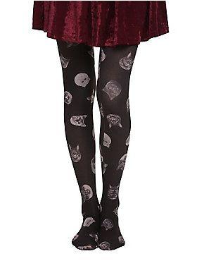 10ea60be5c8c7 Opaque black tights from LOVEsick with cat heads print design.<ul><li> One  size fits most</li><li>100% nylon</li><li>Wash cold; dry low</li></ul>
