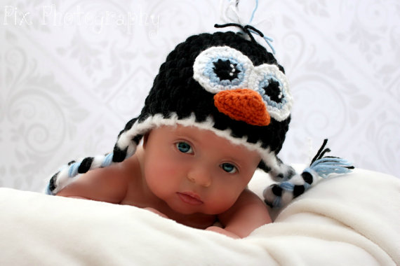 Pinguin Ohrenklappe Hut häkeln Muster sofort-download | Hüte ...