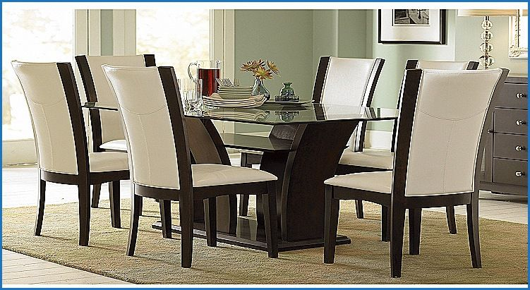 New Glass Top Dining Table Set 6 Chairs Glass Dining Room Table