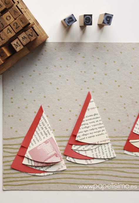 tarjetas de navidad hechas a mano originales arboles de papel reciclado