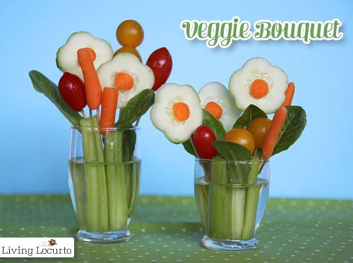 Veggie flower bouquet  What you'll need:    Small vases, cups, jars or orange juice glasses.  Vegetables your kids like, plus celery for the stems and lettuce for leaves.  cream cheese (optional to use as glue)  flower shaped cookie cutter (I used one for play dough!) You could try these cool vegetable cutters.  toothpicks  water  You can also make fruit bouquets for those picky eaters.