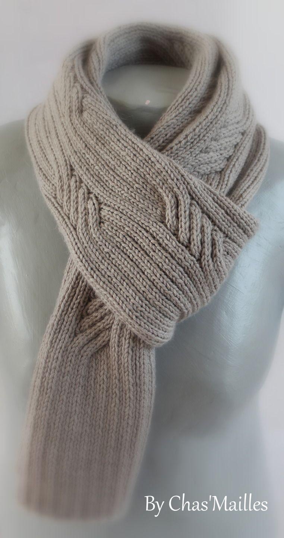 écharpe Homme gris clair à torsades   Echarpes par chas-mailles ... 1416358f5c2