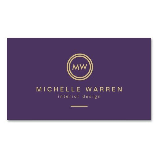 Modern Circle Gold Monogram Initials on Royal Purple Business Card Template - for any profession. Easy to personalize.