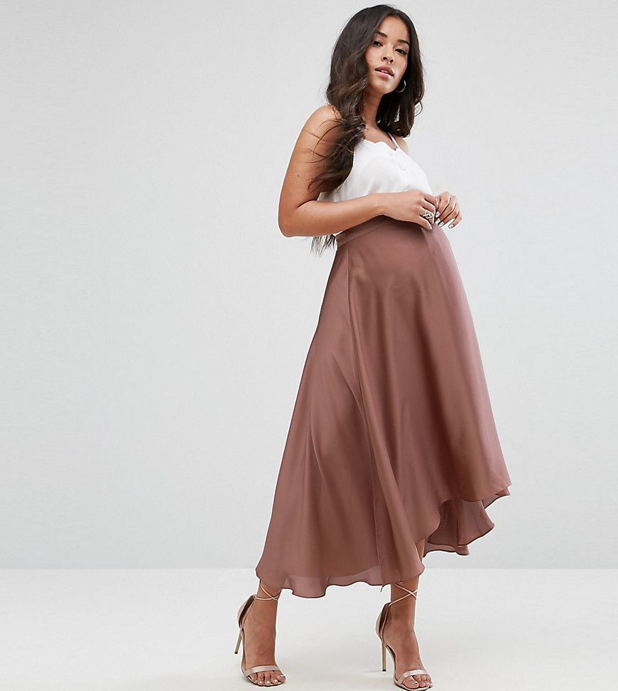 Asos maternity over the bump midi skirt in satin with splices gold